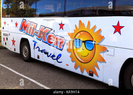 Mil-Ken, coaches, coach, day trips, trip, excursions, excursion, holiday, holidays, travel company, companies, bus, - Stock Photo