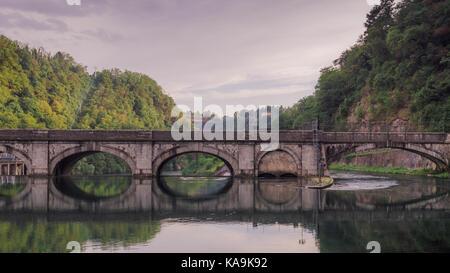 Start of the Canal, Naviglio Martesana, engineered by Leonardo da Vinci. River Adda, northern Italy - Stock Photo