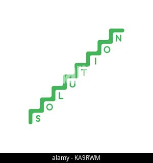 Flat design style vector illustration concept of green stairs symbol icon with solution word with one letter per - Stock Photo