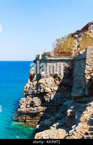 View from the Venetian Fortress ofSpinalonga. Crete, Greece - Stock Photo