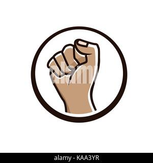 bold fist illustration, silhouette design, isolated on white background. - Stock Photo