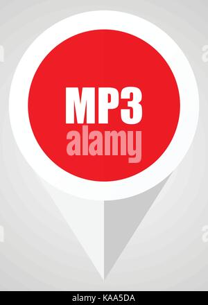 Mp3 vector icon. White and red web pointer in eps 10 for webdesign and smartphone applications. - Stock Photo