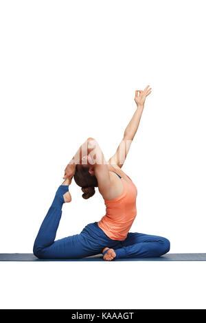 beautiful yoga eka pada rajakapotasana pose stock photo