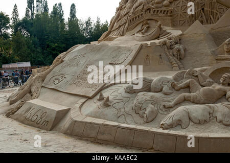 Record breaking sand castle which gained an entry in the Guiness Book of Records in Landschafts Park Duisburg Nord, - Stock Photo