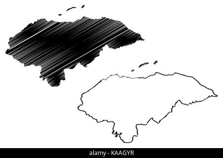 Honduras map vector illustration, scribble sketch Honduras - Stock Photo