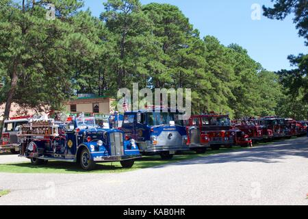 Vintage fire engines on display at the 37th Annual Fire Apparatus Show and Muster at WheatonArts, in Millville, - Stock Photo