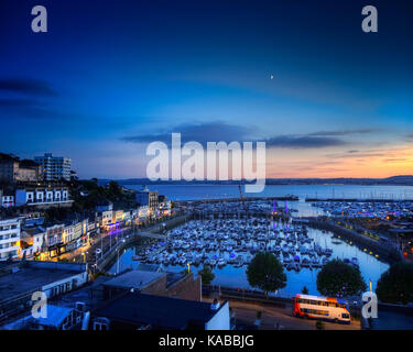 GB - DEVON: Torquay Harbour at night (HDR image) - Stock Photo