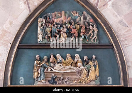 sculpture of the passion and entombment of Christ , Fraunenkirche, Nuremberg, Bavaria, Germany - Stock Photo