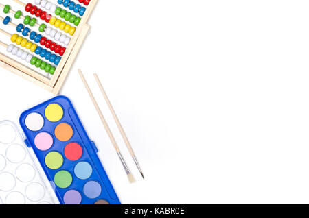 School supplies on white background. Back to school concept. - Stock Photo