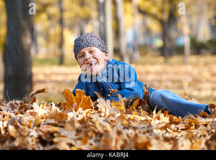 boy lie on yellow leaves in autumn park, bright sunny day, fallen leaves on background - Stock Photo
