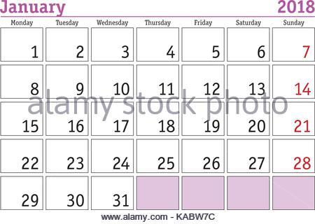 Simple digital calendar for January 2018. Vector printable ...