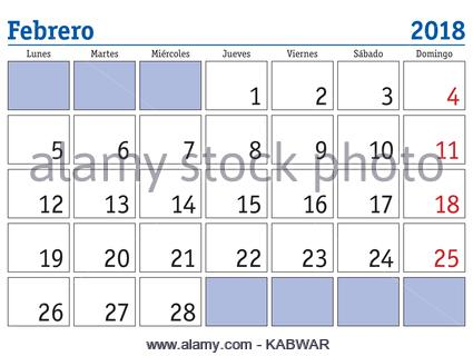 Vector of calendar 2018 ( february ) in simple clean table style ...