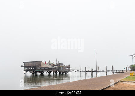 WALVIS BAY, NAMIBIA - JULY 1, 2017: The Raft Restaurant on the lagoon in Walvis Bay on the Atlantic Coast of Namibia - Stock Photo