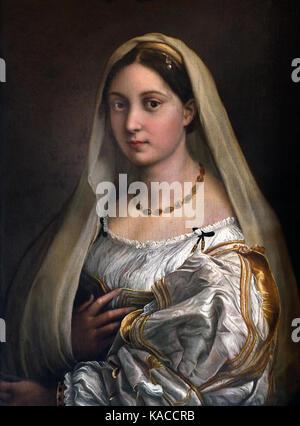 Raffaello Santi, Raffaello de Urbino, Rafael Sanzio de Urbino, Raffael 1483 - 1520 - Woman with a Veil (La Donna - Stock Photo
