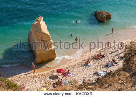 Praia da Marina in the afternoon sunlight - Stock Photo