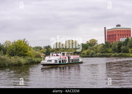 Tourist boat on the Oder River in Wroclaw, Poland - Stock Photo