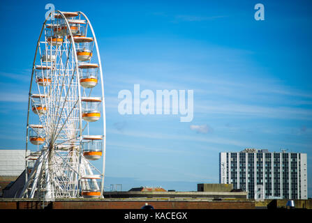 The Sky View Observation Wheel - the Uk's tallest mobile ferris wheel erected in Southampton city centre, UK - Stock Photo