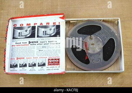 Retro reel to reel sound recording tape - Stock Photo
