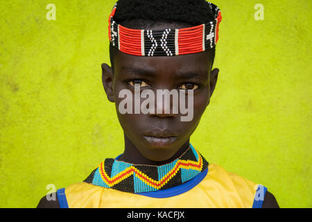 Young Bana boy, Key Afer, Omo valley, Ethiopia - Stock Photo