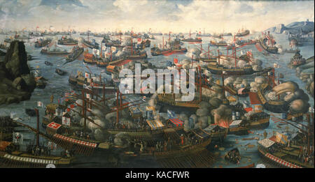 The Battle of Lepanto in 1571 prevented the Ottomans from expanding further (near-contemporary painting by an unknown - Stock Photo