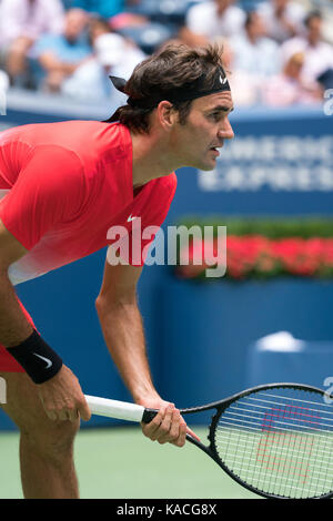 Roger Federer (SUI) competing at the 2017 US Open Tennis Championships - Stock Photo