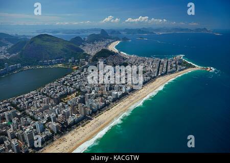 People on Ipanema Beach, Lagoa Rodrigo de Freitas (left), and Copacabana Beach (top), Rio de Janeiro, Brazil, South - Stock Photo