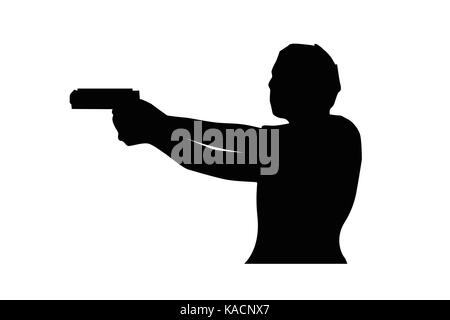 man holds pistol silhouette, illustration design, isolated on white background. - Stock Photo