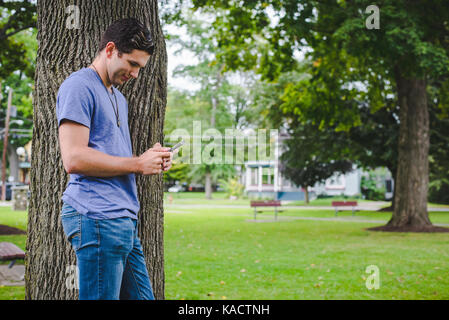 A young man looks at his cellphone while leaning against a tree in a park. - Stock Photo