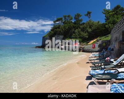 Achilles Bay beach, St. George, Bermuda - Stock Photo