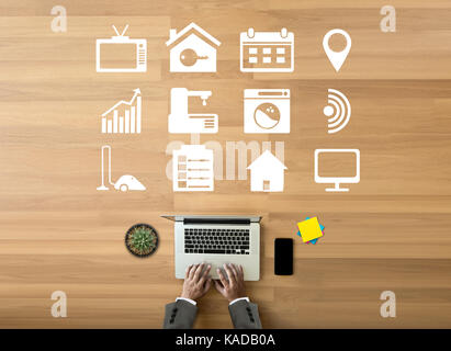 system app Remote home control system on phone Real estate concept - Stock Photo