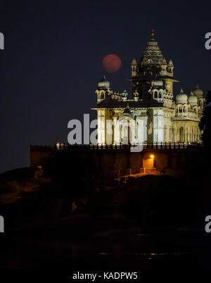 JODHPUR, INDIA - CIRCA NOVEMBER 2016:  Jaswant Thada Memorial at  night during 2017 super moon. - Stock Photo