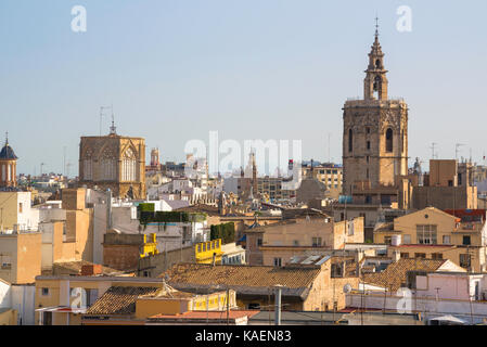 Valencia Spain city, view across the rooftops of the old town Barrio del Carmen area of Valencia with the cathedral towers visible on the skyline.
