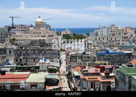 The view over the rooftops of Centro Habana and Habana Vieja in Havana, Cuba. - Stock Photo