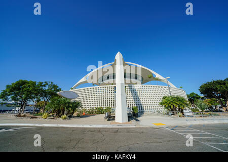 Exterior view of LAX Theme Building on morning at Los Angeles, California, United States - Stock Photo