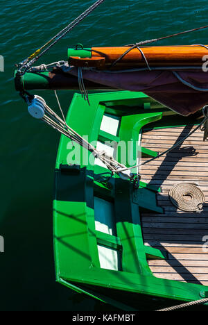 Abstract of the aft end of a sail boat in Brittany, France - Stock Photo
