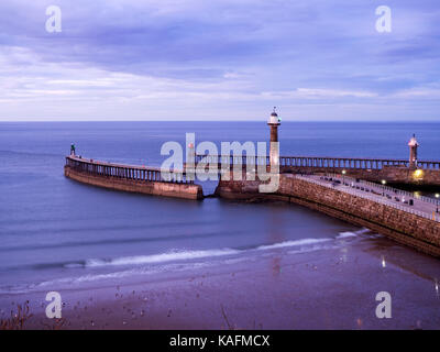 Whitby Piers at Dusk Whitby Yorkshire England - Stock Photo