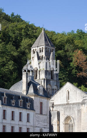 The Romanesque bell tower at the benedictine Abbaye Saint-Pierre de Brantôme. - Stock Photo
