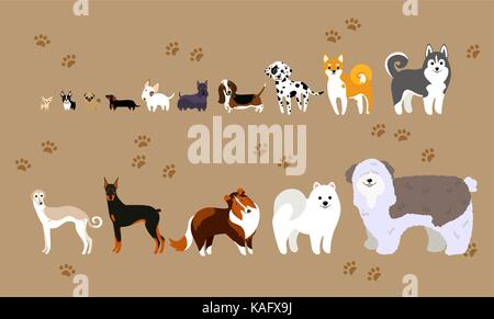 Cartoon dogs of different breeds - Stock Photo