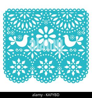 Papel Picado vector template design, Mexican paper decorations with birds and flowers, traditional fiesta banner - Stock Photo