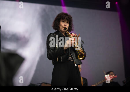 Musician Jorja Chalmers performs live with the English singer and songwriter Bryan Ferry during the Norwegian music - Stock Photo