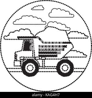 dump truck in circular frame with cloud landscape on monochrome dotted silhouette - Stock Photo