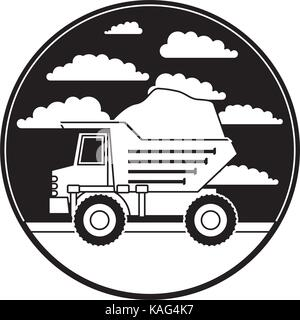 dump truck in circular frame with cloud landscape on monochrome silhouette - Stock Photo