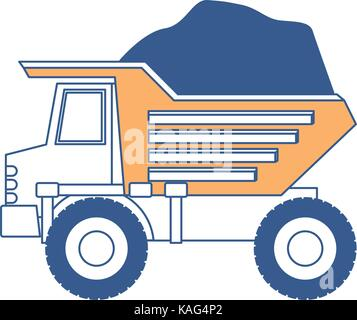 dump truck with rocks on color section silhouette - Stock Photo