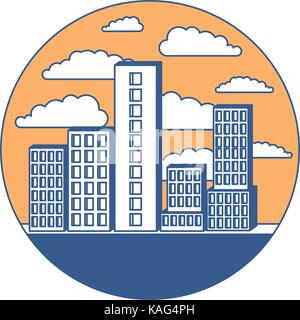 building set big city in circular frame with cloud landscape on color section silhouette - Stock Photo