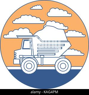 dump truck in circular frame with cloud landscape on color section silhouette - Stock Photo