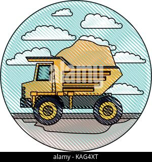 dump truck in circular frame with cloud landscape on color crayon silhouette - Stock Photo