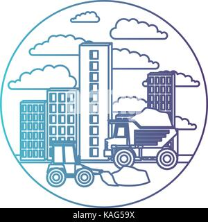 building set city with contruction vehicles in circular frame with cloud landscape on gradient color silhouette - Stock Photo