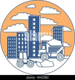 building set city with contruction vehicles in circular frame with cloud landscape on color section silhouette - Stock Photo