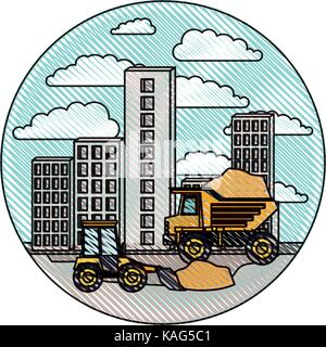 building set city with contruction vehicles in circular frame with cloud landscape on color crayon silhouette - Stock Photo