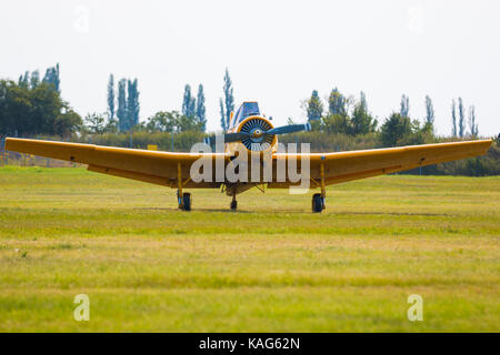 One seat single engine yellow civil utility aircraft in airport on green grass - Stock Photo